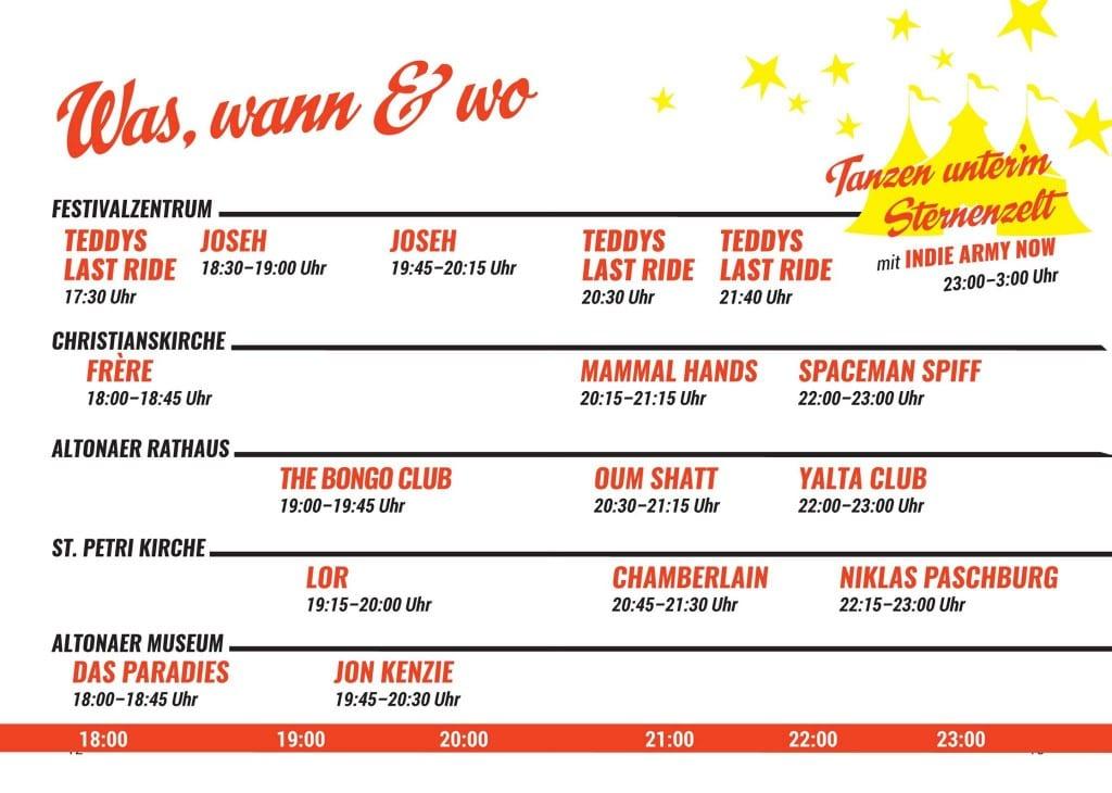 Altonale Pop Nacht Timetable